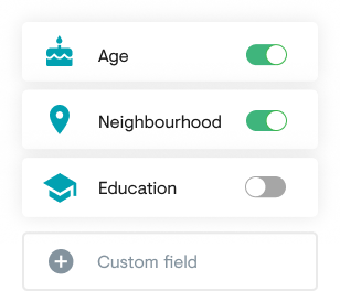 Screenshot of the custom sign-up fields