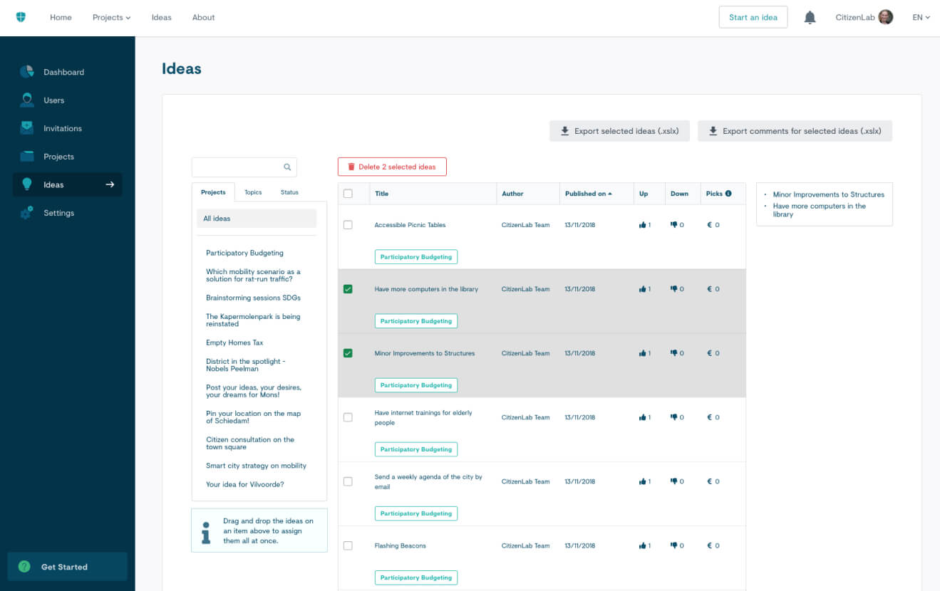 Screenshot of citizen ideas moderation on the platform