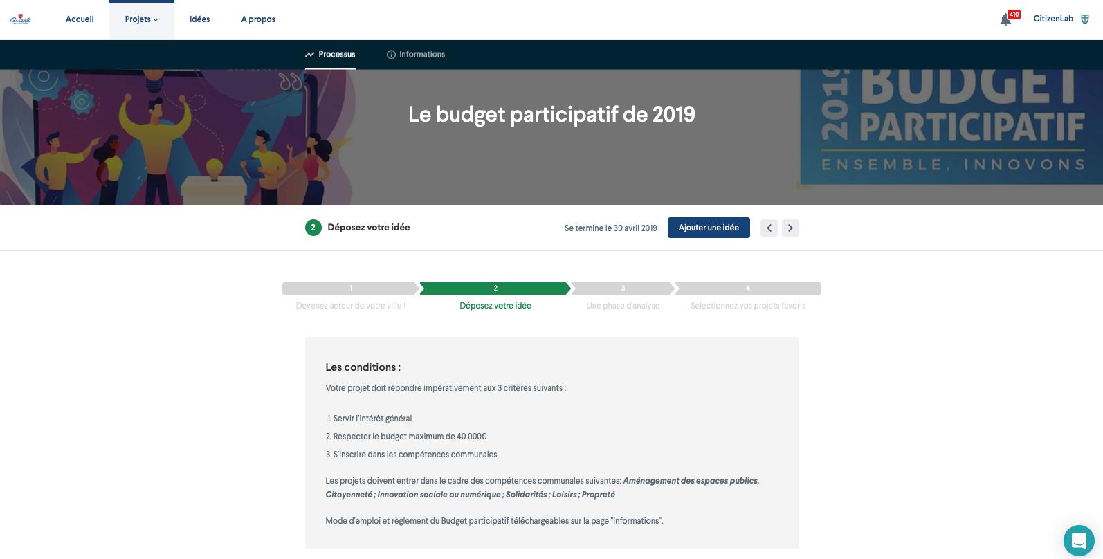 Screenshot : Participatory Budgeting
