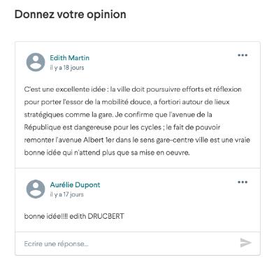 Screenshot of a citizen question on the platform