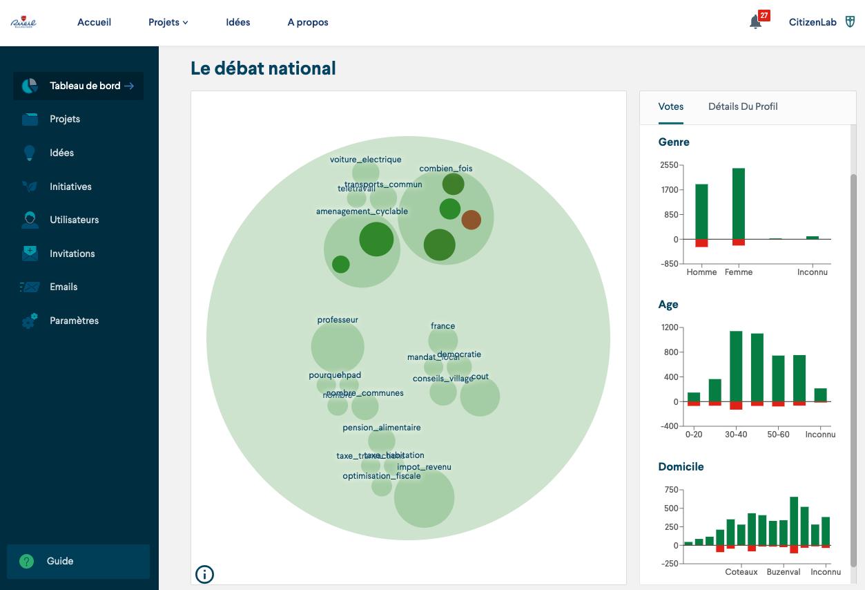Capture d'écran d'une plateforme client