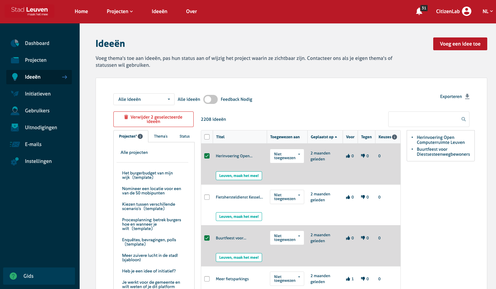 Screenshot of the ideas moderation section