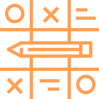 practice icon with pencil and tic tac toe