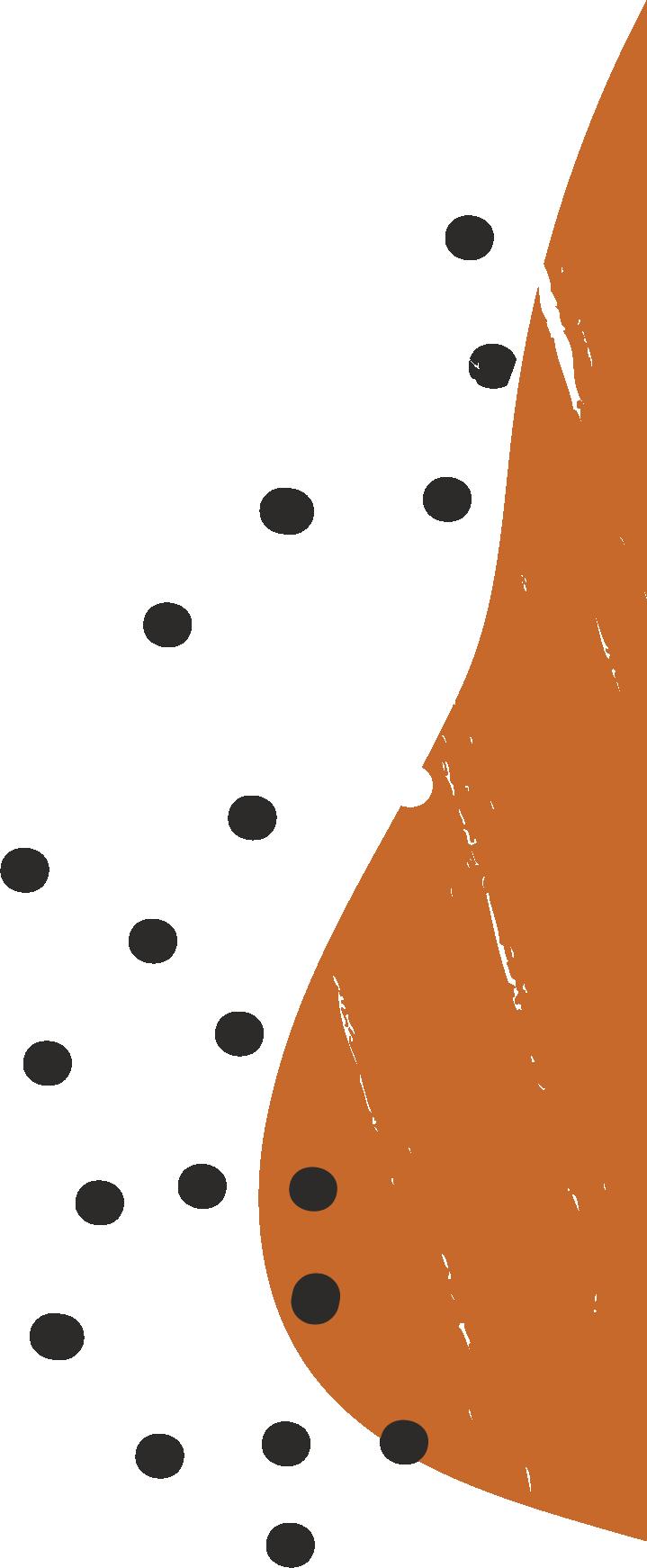 black dots and orange paint