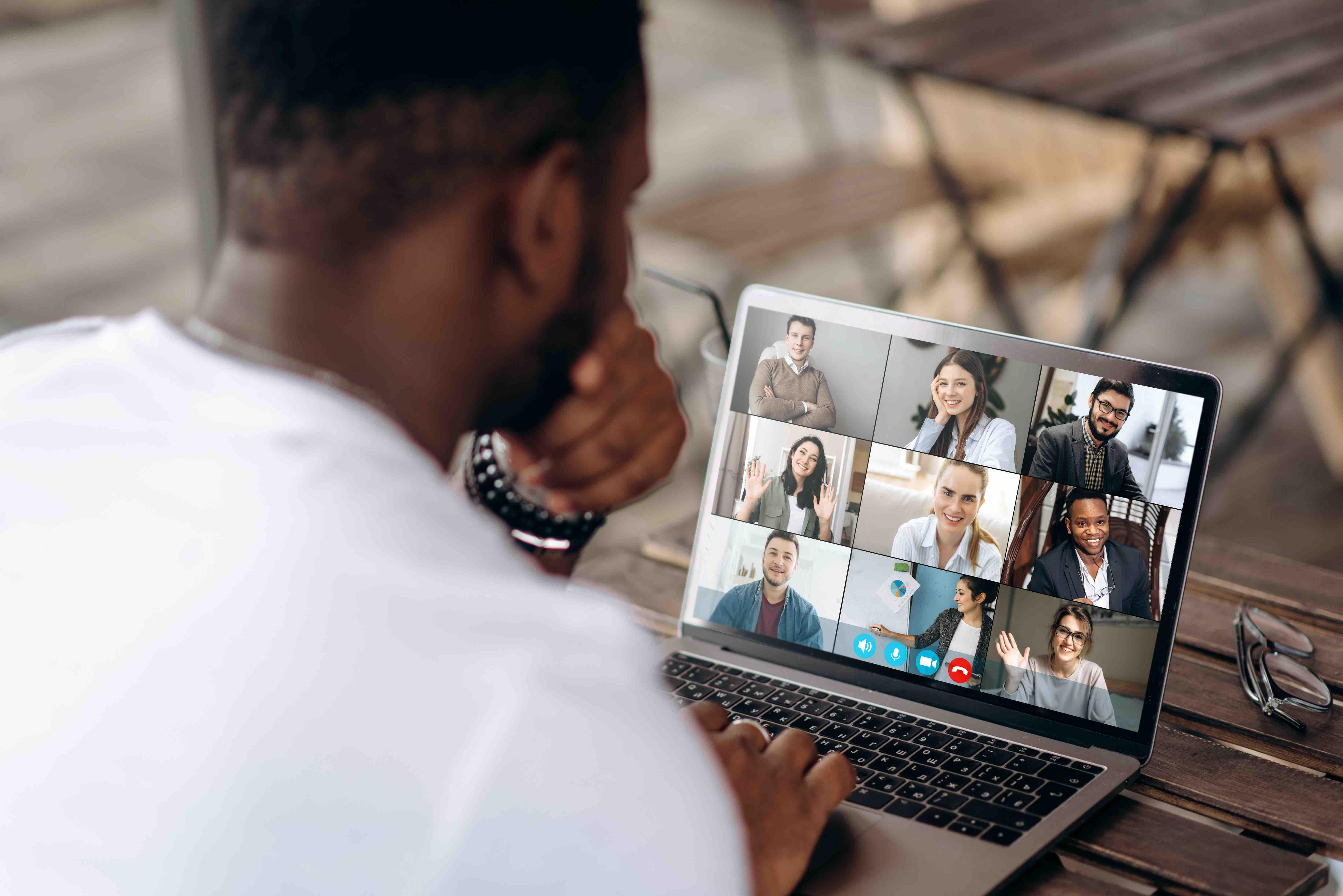 Man in a virtual meeting