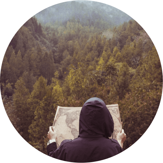 Woman looking at map in forest