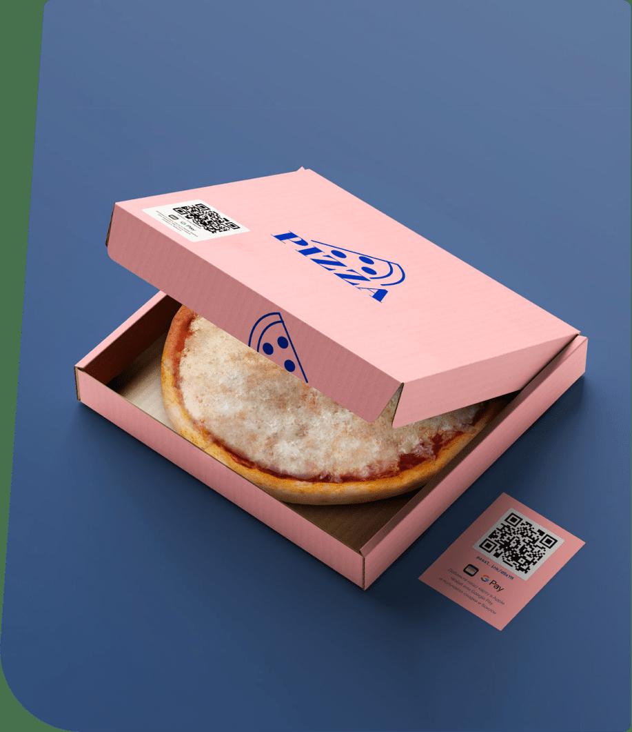 QR-код на упаковке пиццы и в виде листовки