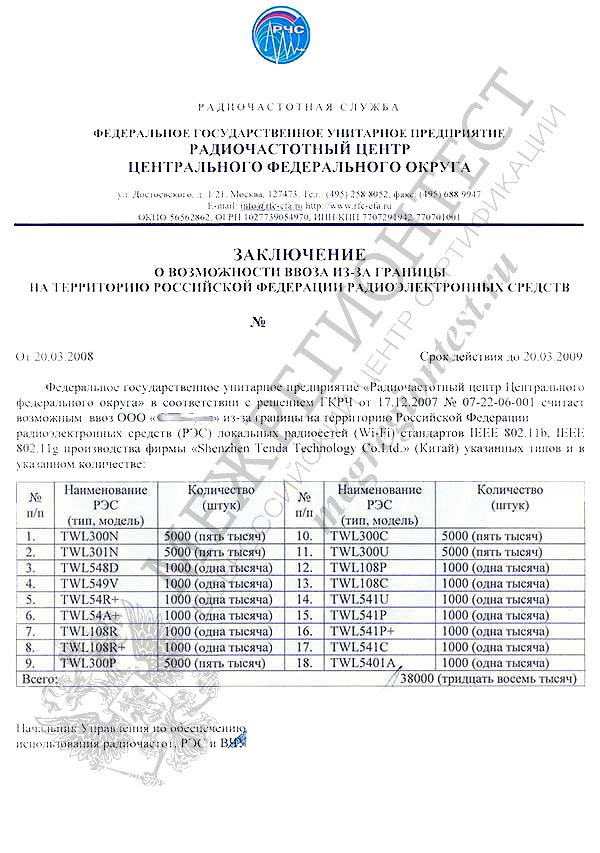 Разрешение РЧЦ ГКРЧ на ввоз РЭС и ВЧУ