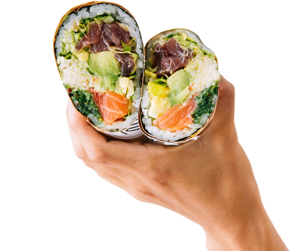 pokerrito poke burrito sliced into two held in one hand with salmon, tuna, avocado, crab meat, rice inside.