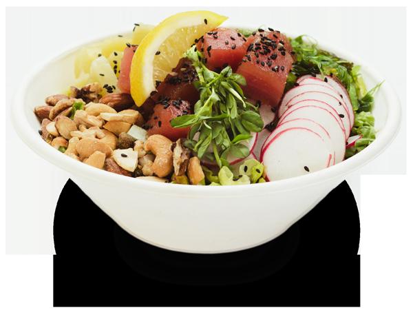 Pokerrito signature poke bowl hawaiian classic with marinated ahi tuna, seaweed salad, romaine lettuce, lemon, green onion, sprout, sesame seed, pineapple, radish coins, mixed nut, and classic shoyu sauce