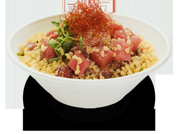 Pokerrito signature poke bowl aburi with flame torched ahi tuna, crab meat, lemon, green onion, shredded chili, furikake, crispy tempura, and miso glaze sauce