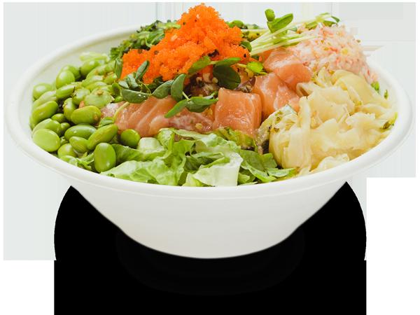 Pokerrito signature poke bowl hanauma with salmon, seaweed salad, crab meat, edamame, ginger, sprout, masago, furikake, and creamy mayo sauce