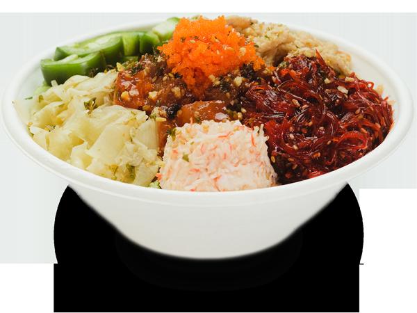 Pokerrito signature poke bowl diamond head with spicy tuna, spicy seaweed salad, crab meat, jalapeno, ginger, masago, furikake, shredded chili, crispy onion, and sweet chili sauce