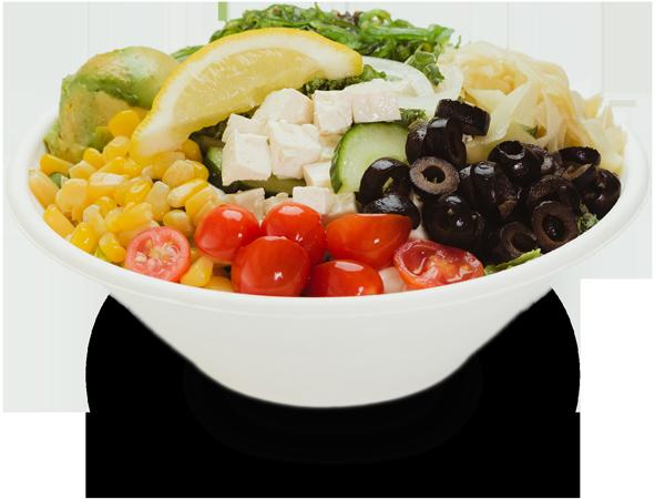 Pokerrito signature poke bowl sunset beach with tofu, seaweed salad, avocado, kale, grape tomato, ginger, lemon, sweet corn, black olive, and citrus ponzu sauce