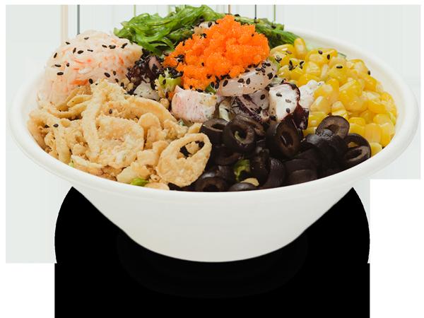 Pokerrito signature poke bowl wikiki with octopus, shrimp, seaweed salad, crab meat, masago, sesame seed, crispy onion, sweet corn, black olive, and wasabi basil sauce