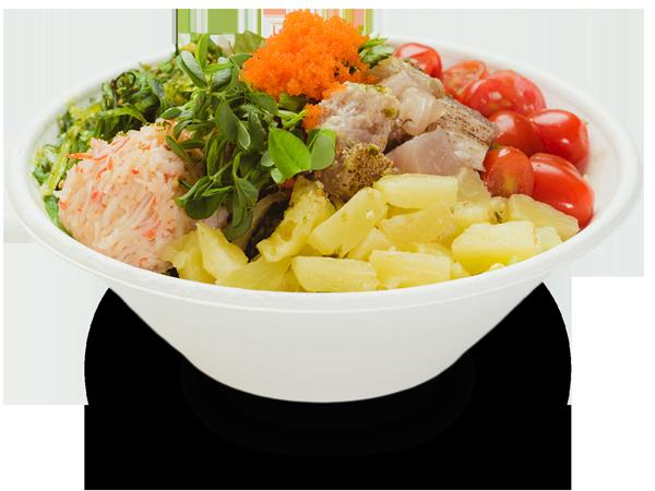 Pokerrito signature poke bowl north shore with albacore tuna, seaweed salad, crab meat, pine apple, grape tomato, sprout masago, furikake, and umami sauce