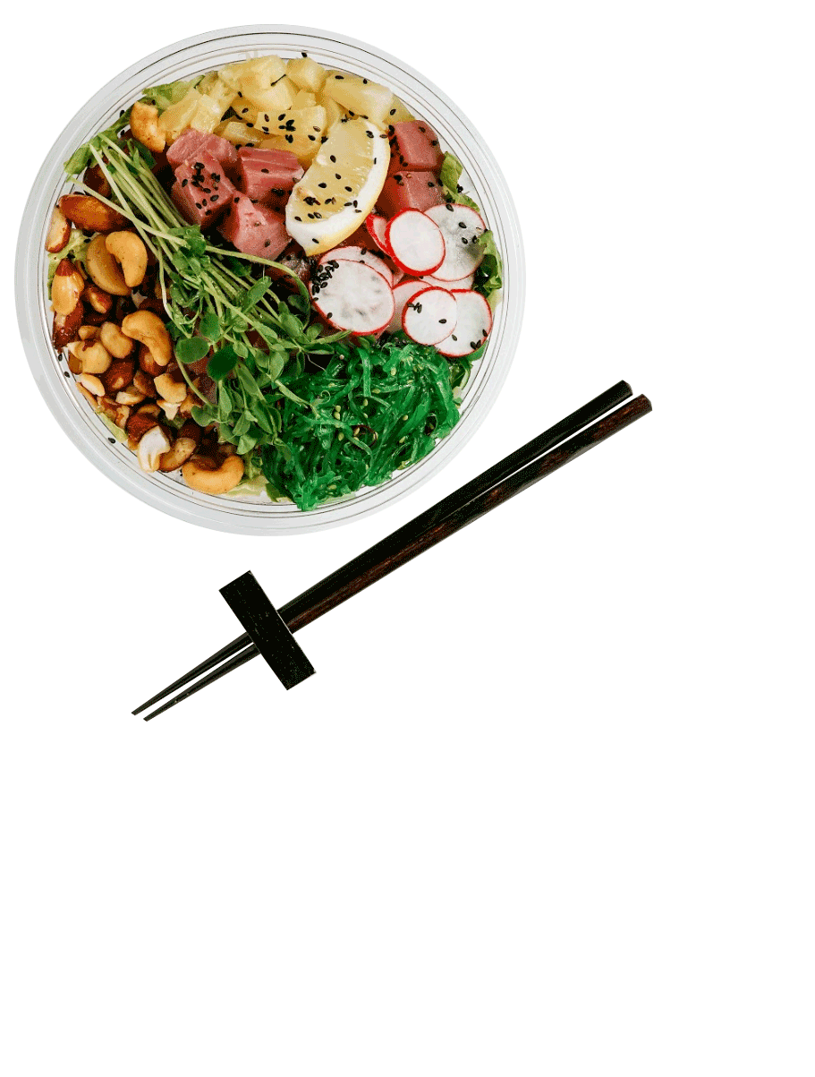 pokerrito poke bowl with chopsticks on franchise page