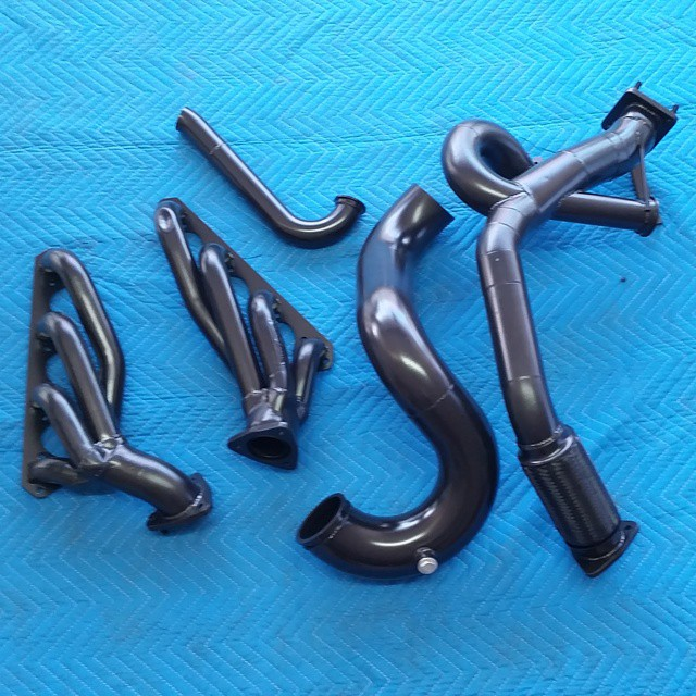 Black Powder Coated Headers
