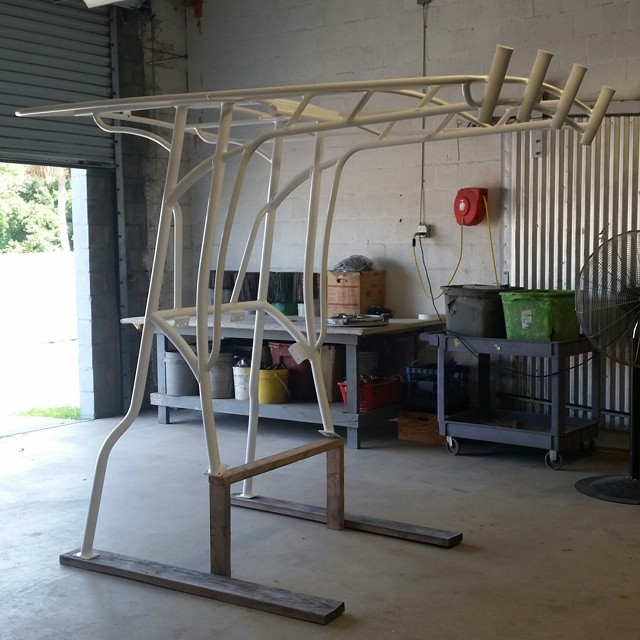 Boat tower boat powder coated