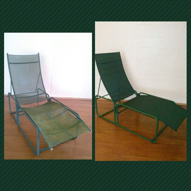 Re-upholstered green patio chair