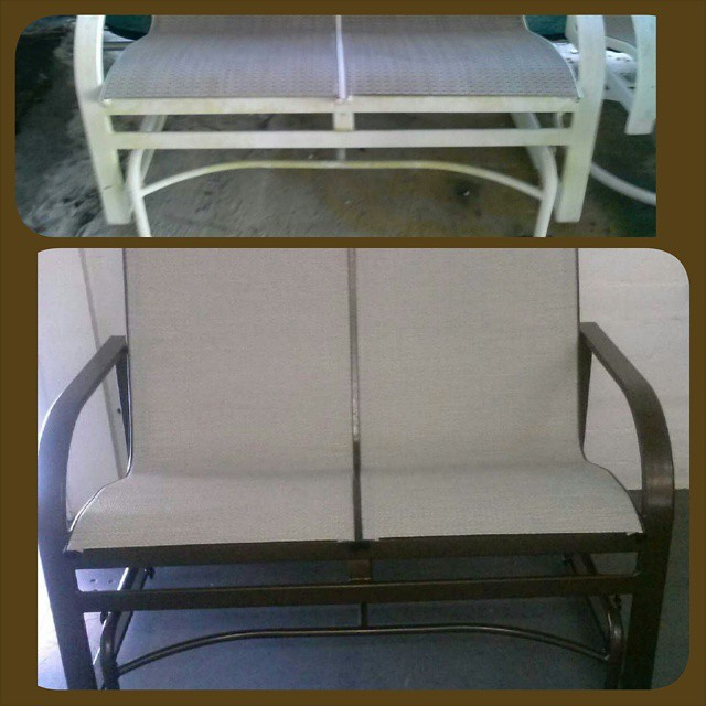 Patio Bench Re-Upholsterd and powder coated