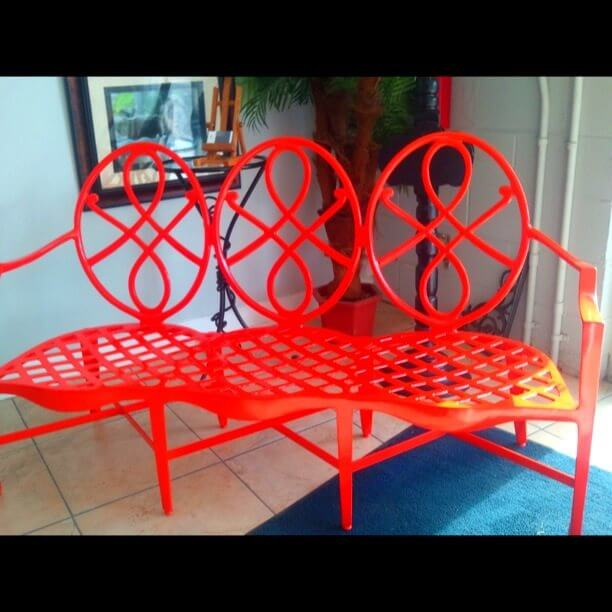 Bench powder coated red