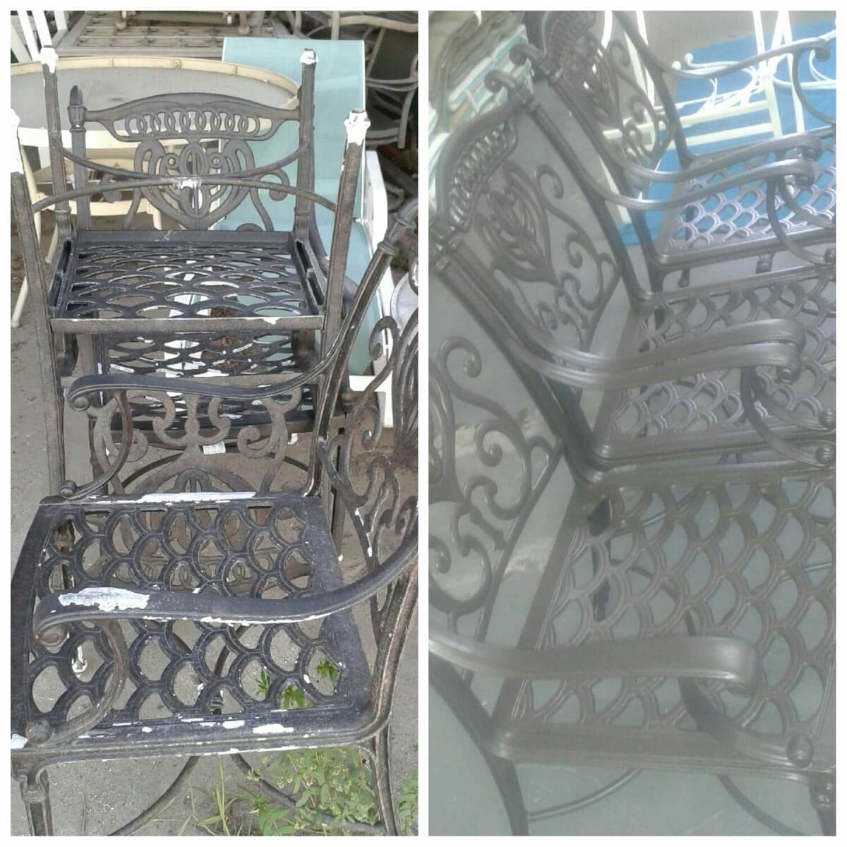 Before and after patio chairs powder coated