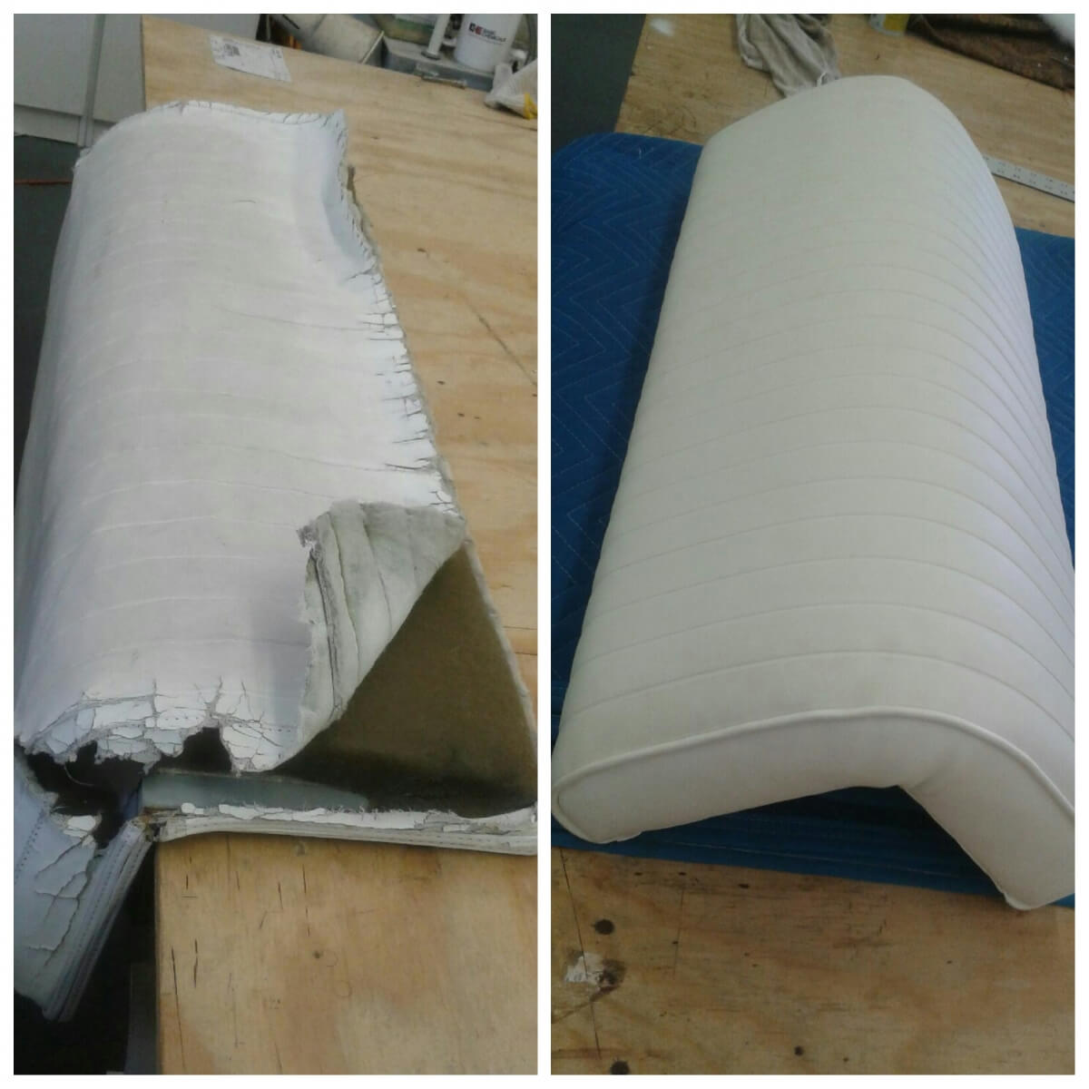 Before and after Cushion Re-fabric