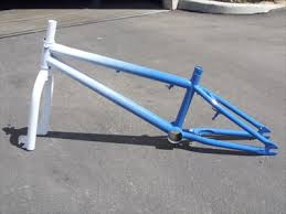Bike Frame White and Blue Powder Coated