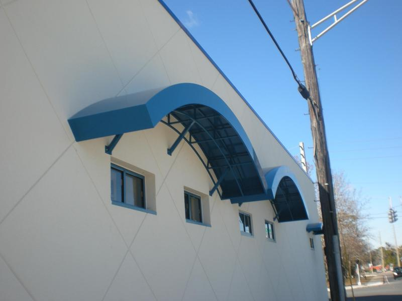 blue awning powder coated