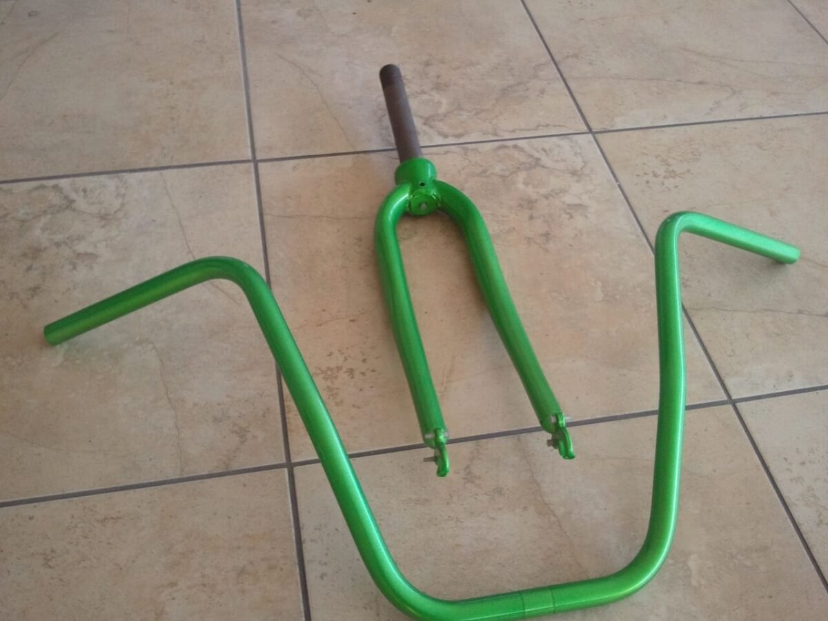 Bike Handle Bars Green Powdered Coated
