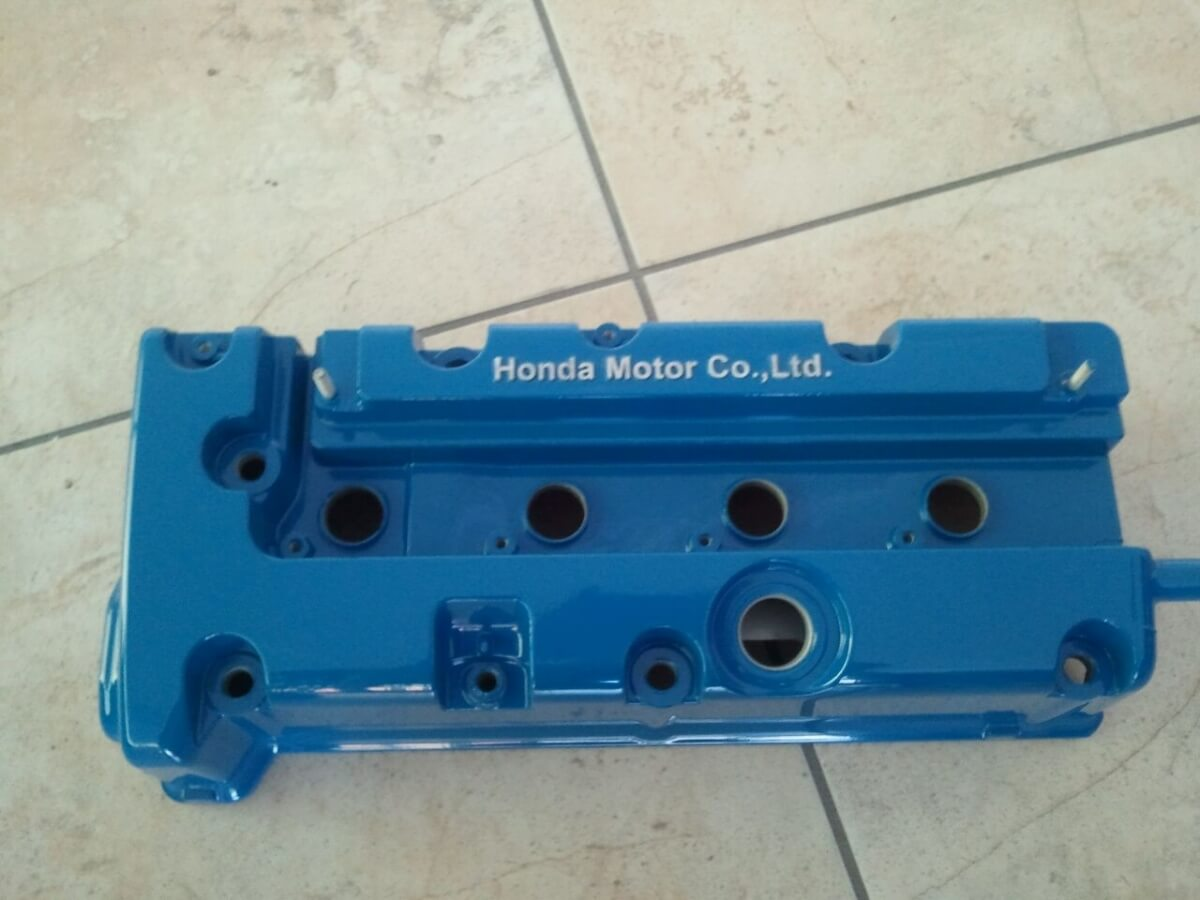 blue auto part powder coated