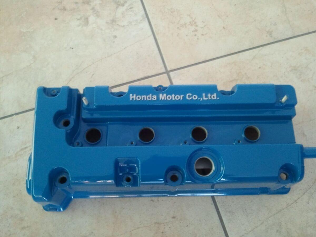 blue auto part powder coated