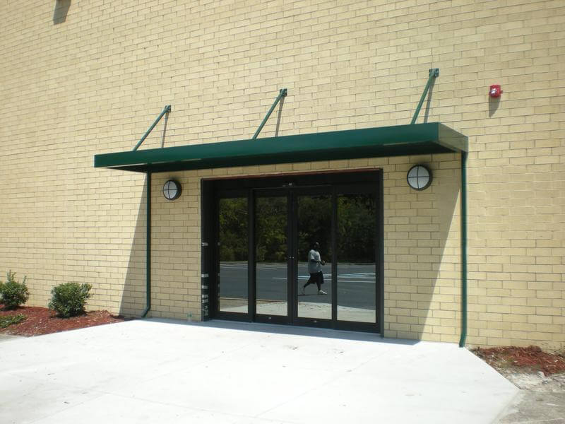 dark green awning powder coated