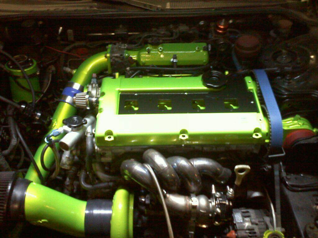 Engine Neon Green powder coated