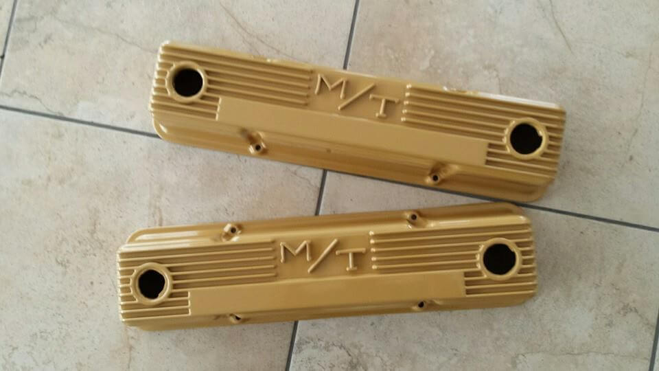 gold valve covers powder coated