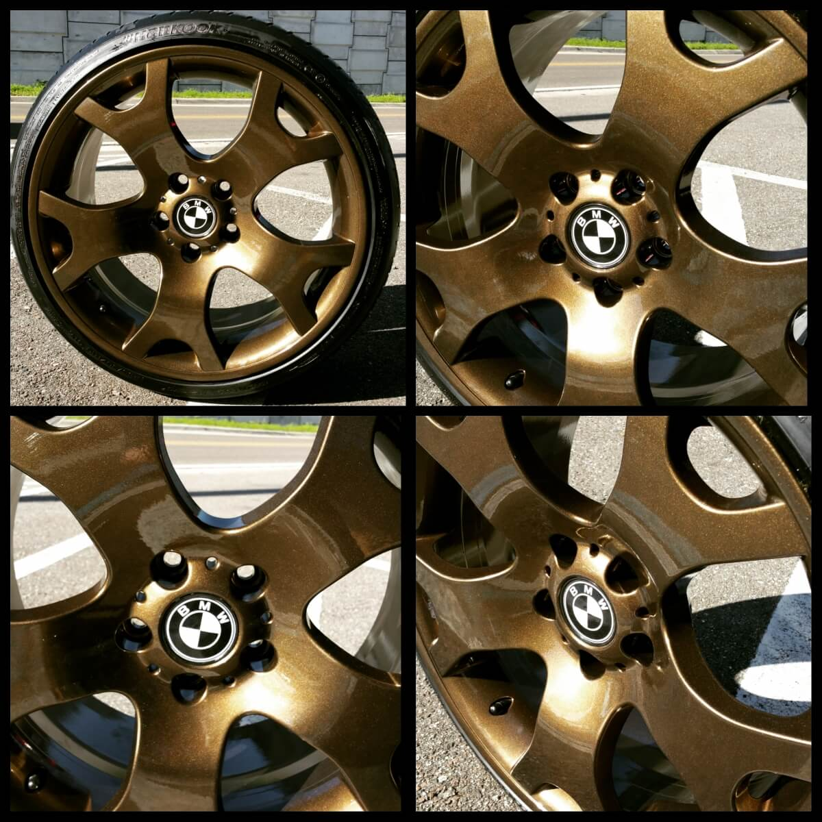 Gold Rims BMW powder coated