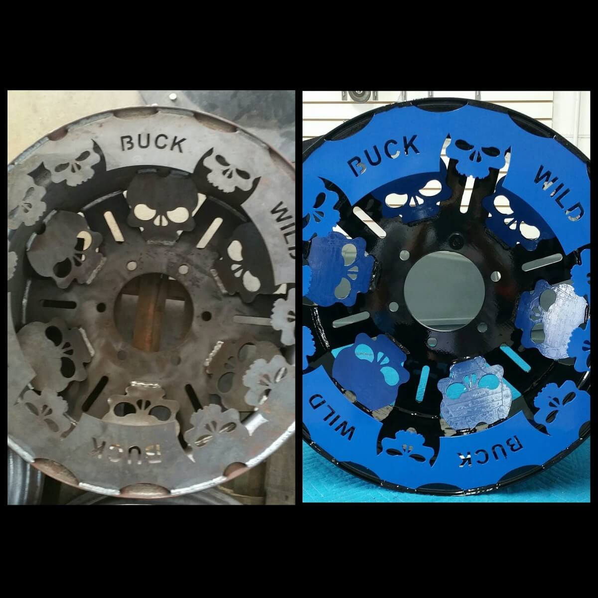 Before and after Blue and Black Rim powder coated