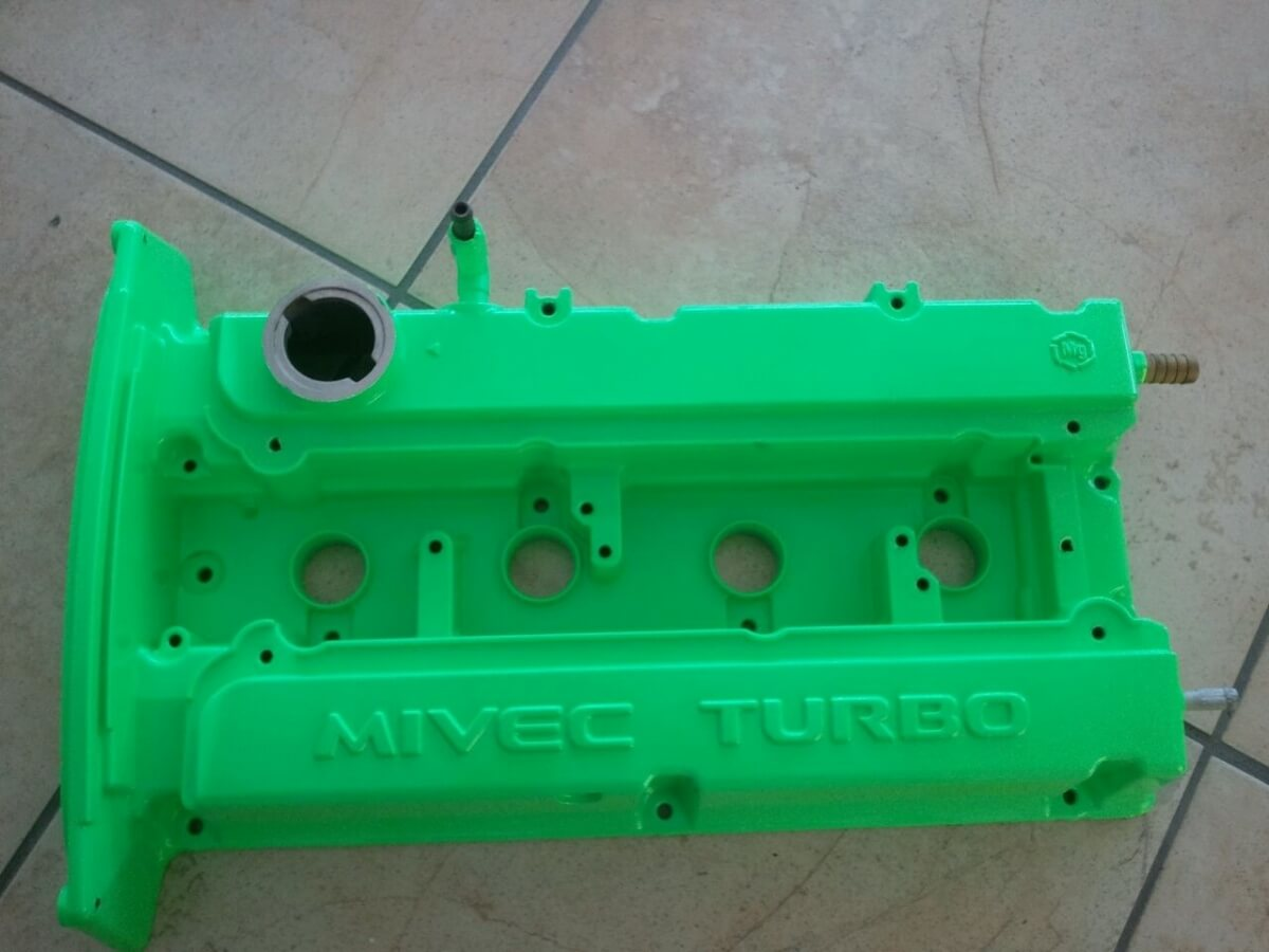 lime green valve cover powder coated