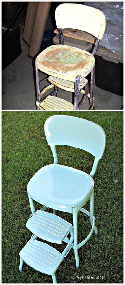Before and after metal chair powder coated