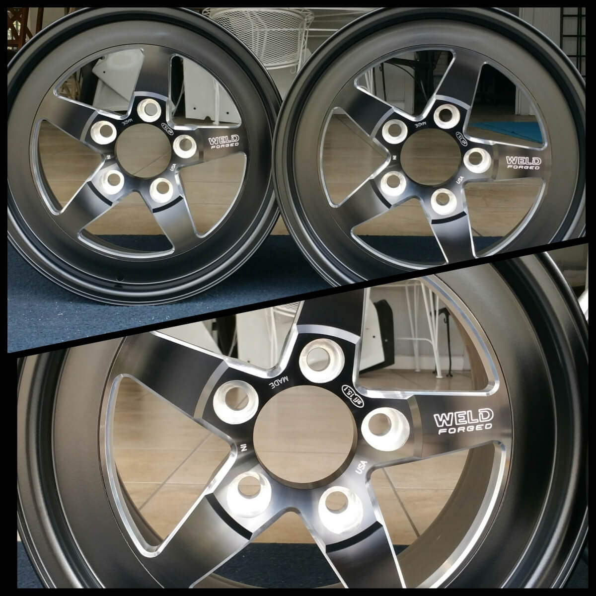 black and silver rims powder coated