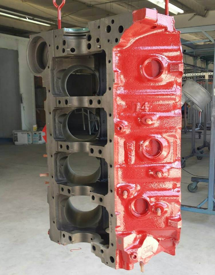 powder coated block red