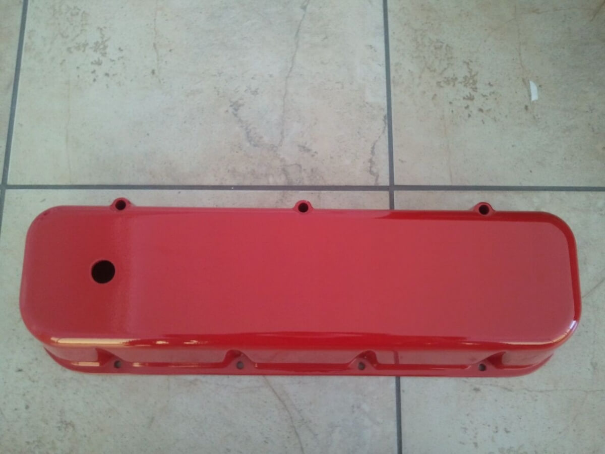 red oil pan powder coated