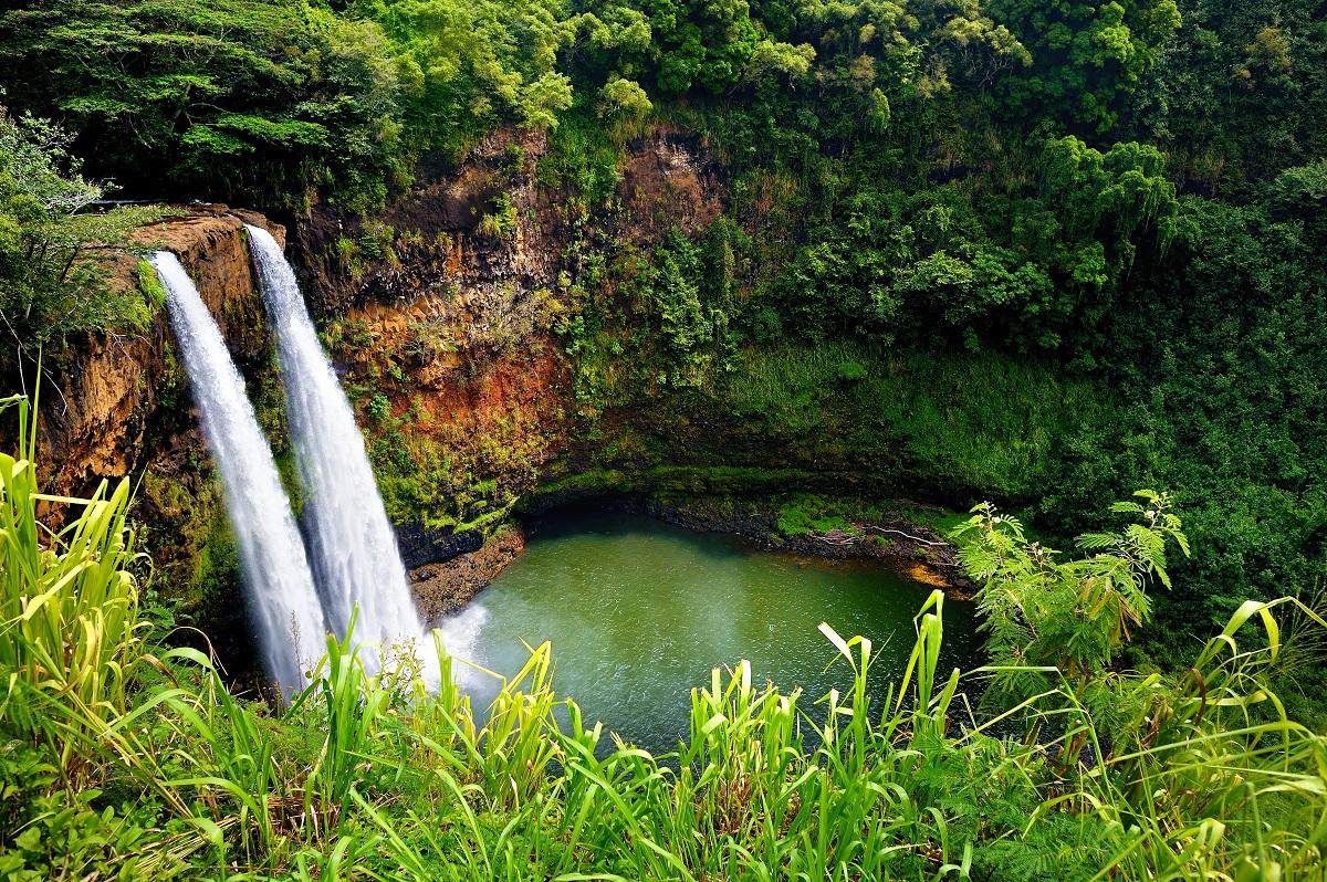 Twin Wailua Falls, Kauai.