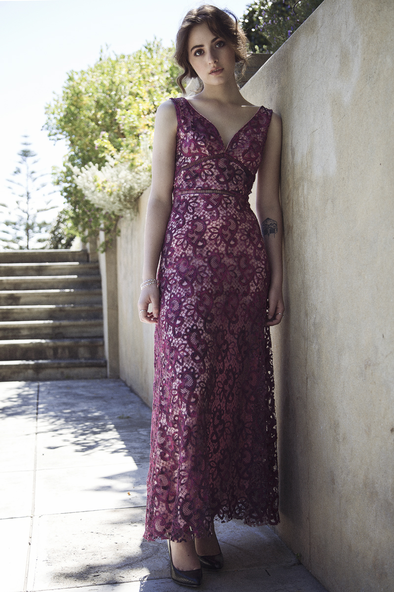 photo of maroon lace gown