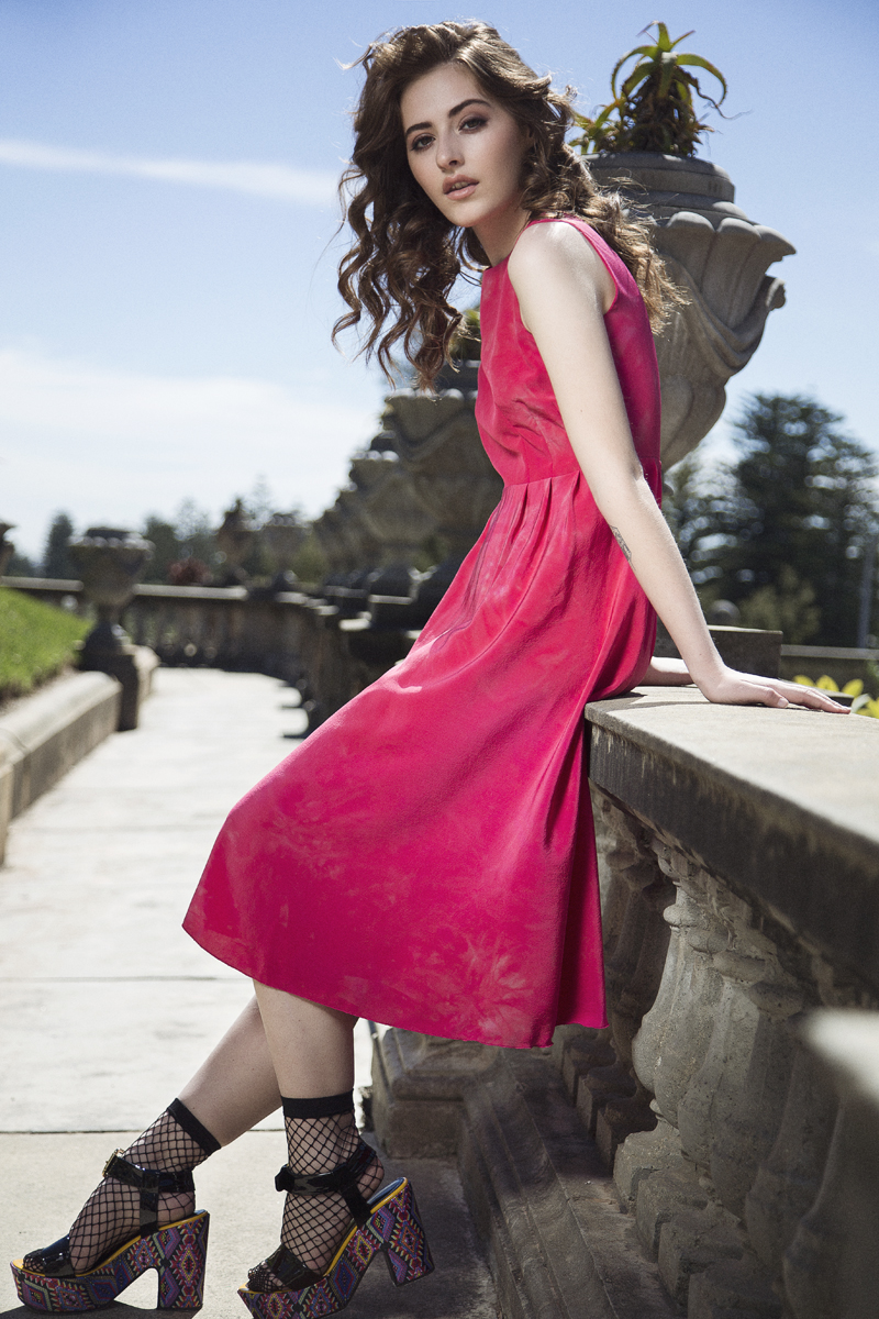 photo of strawberry pink midi dress