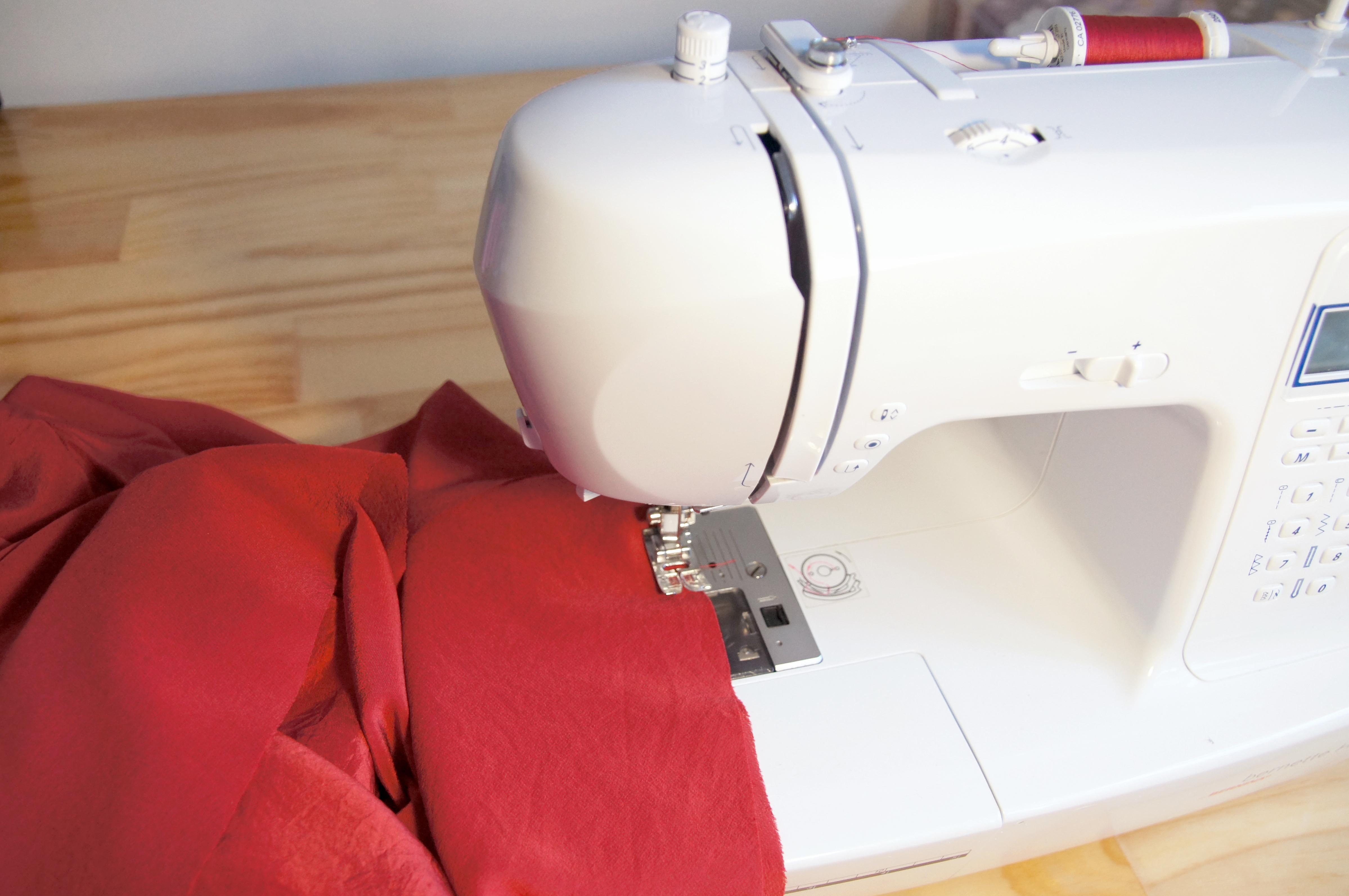 photo of fabric and sewing machine