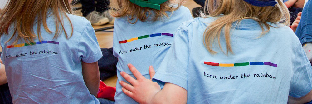 LesMamas Kids with born under the rainbow shirt