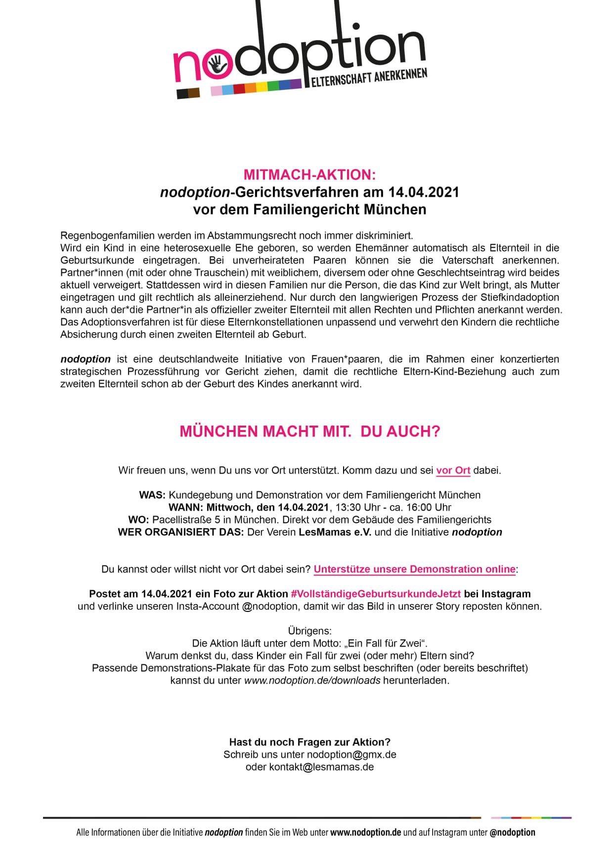 Am 14. April ist es soweit: Unsere LesMamas Jenny und Inga ziehen vor das Familiengericht München. Natürlich wollen wir sie alle nach Kräften unterstützen - seid dabei: vor Ort ab 13:30 Uhr in der Pacellistr. 5 und/oder online!