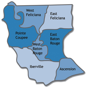 Map of Ascension, East Baton Rouge, East Feliciana, Iberville, Pointe Coupee, West Baton Rouge and West Feliciana parishes in Louisiana